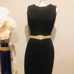 Gorgeous crystal & gold sash/belt w/ black ribbon